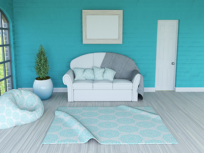 3D render of a room interior with blank picture frame